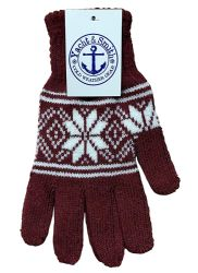 60 of Yacht & Smith Snowflake Print Mens Winter Gloves With Stretch Cuff