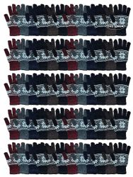 240 of Yacht & Smith Snowflake Print Mens Winter Gloves With Stretch Cuff