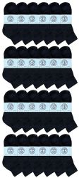 24 of Yacht & Smith Kids Cotton Quarter Ankle Socks In Black Size 4-6