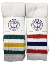 48 of Yacht & Smith Men's Cotton Terry Tube Socks, 30 Inch Referee Style, Size 10-13 White With Stripes