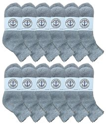 12 of Yacht & Smith Men's Cotton Sport Ankle Socks Size 10-13 Solid Gray