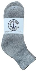 72 of Yacht & Smith Men's Cotton Sport Ankle Socks Size 10-13 Solid Gray