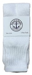 24 of Yacht & Smith Women's Cotton Tube Socks, Referee Style, Size 9-15 Solid White