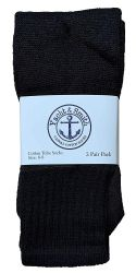 24 of Yacht & Smith Kids Solid Tube Socks Size 6-8 Black