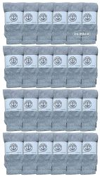24 of Yacht & Smith Kids Solid Tube Socks Size 6-8 Gray