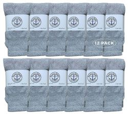 12 of Yacht & Smith Kids Solid Tube Socks Size 6-8 Gray