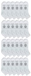 24 of Yacht & Smith Kids Cotton Quarter Ankle Socks In White Size 6-8