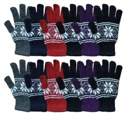12 of Yacht & Smith Snowflake Print Womens Winter Gloves With Stretch Cuff