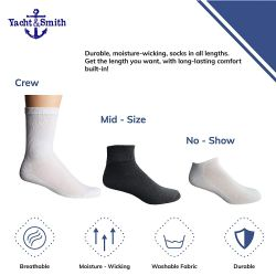 12 of Yacht & Smith Mens Athletic Crew Socks , Soft Cotton, Terry Cushion, Sock Size 10-13 Black