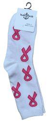 60 of Pink Ribbon Breast Cancer Awareness Crew Socks For Women Bulk Pack