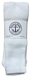 12 of Yacht & Smith Men's 32 Inch Cotton King Size Extra Long White Tube SockS- Size 13-16