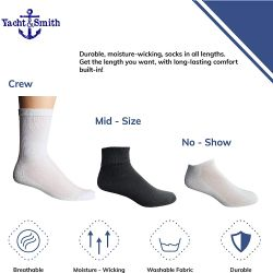 240 of Yacht & Smith Mens Wholesale Bulk Cotton Socks, Athletic Sport Socks Shoe Size 8-12 (white Usa, 240)