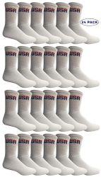 24 of Yacht & Smith Mens Wholesale Bulk Cotton Socks, Athletic Sport Socks Shoe Size 8-12 (white Usa, 24)