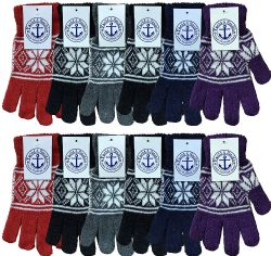 48 of Yacht & Smith Snowflake Print Womens Winter Gloves With Stretch Cuff