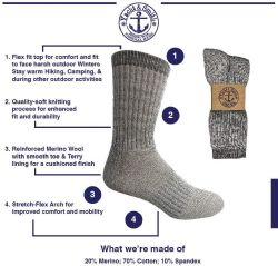 4 of Yacht & Smith Merino Wool Socks For Hiking, Trail, Hunting, Winter, By Socks'nbulk (4 Pairs Gray B, Mens 10-13)