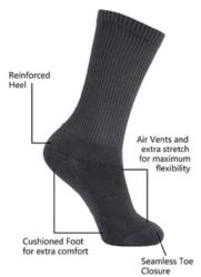 48 of Yacht & Smith King Size Men's Crew Socks Cotton Terry Cushioned Solid Black Size 13-16