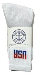 48 of Yacht & Smith Men's Cotton Terry Cushioned Crew Socks White USA, Size 10-13