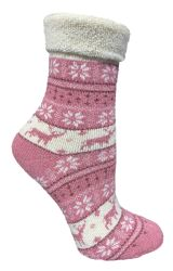 72 of Yacht & Smith Womens Thick Soft Knit Wool Warm Winter Crew Socks, Patterned Lambswool, FAIR ISLE PRINT