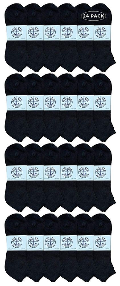 24 of Yacht & Smith Men's Cotton No Show Ankle Socks King Size 13-16 Black