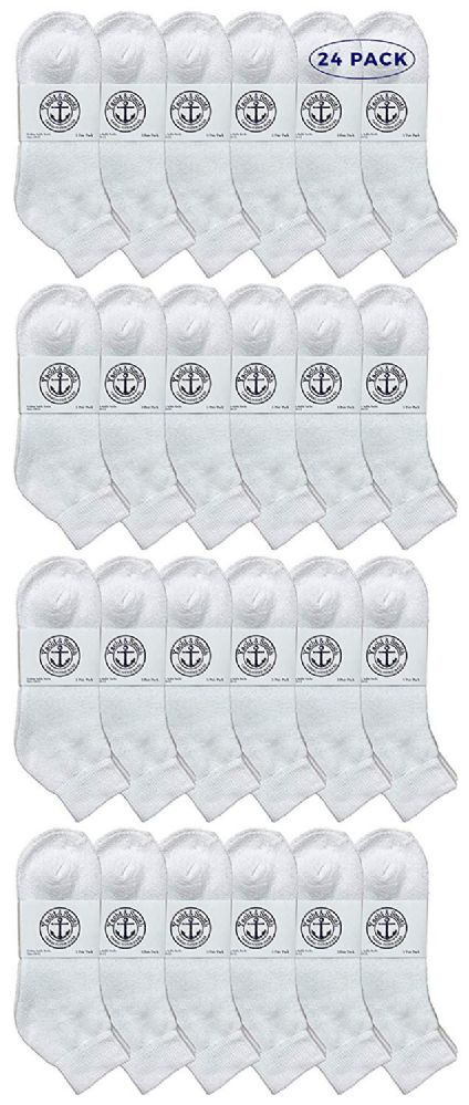 24 of Yacht & Smith Men's King Size Cotton Terry Low Cut Ankle Socks Size 13-16 Solid White
