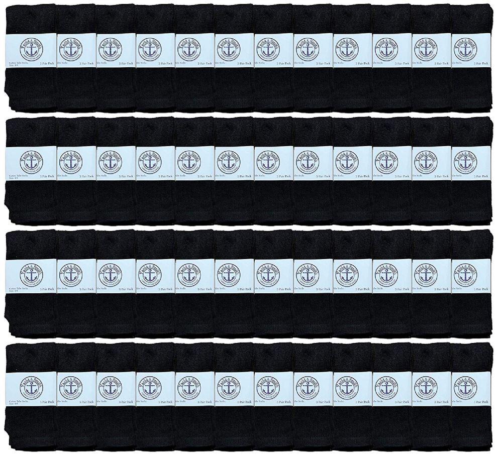48 of Yacht & Smith Kids Black Solid Tube Socks Size 4-6