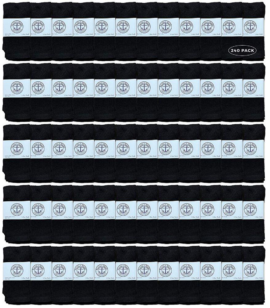 240 of Yacht & Smith Kids Black Solid Tube Socks Size 4-6