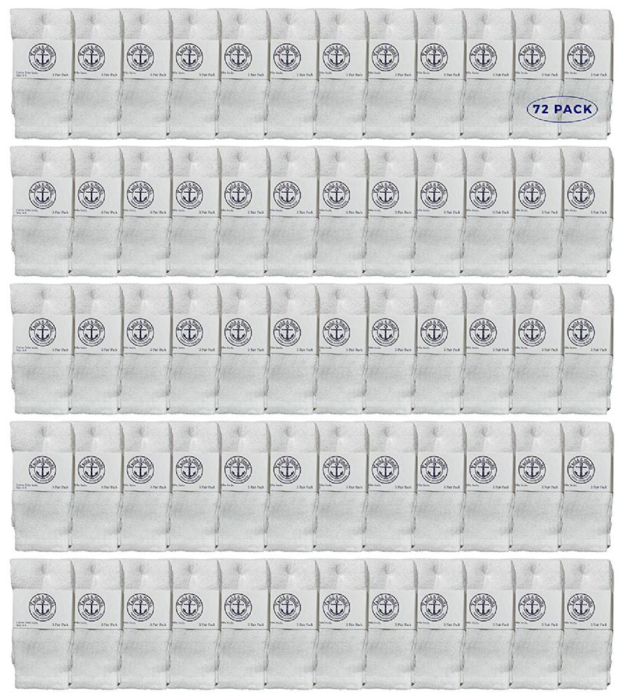 72 of Yacht & Smith Kids White Solid Tube Socks Size 4-6