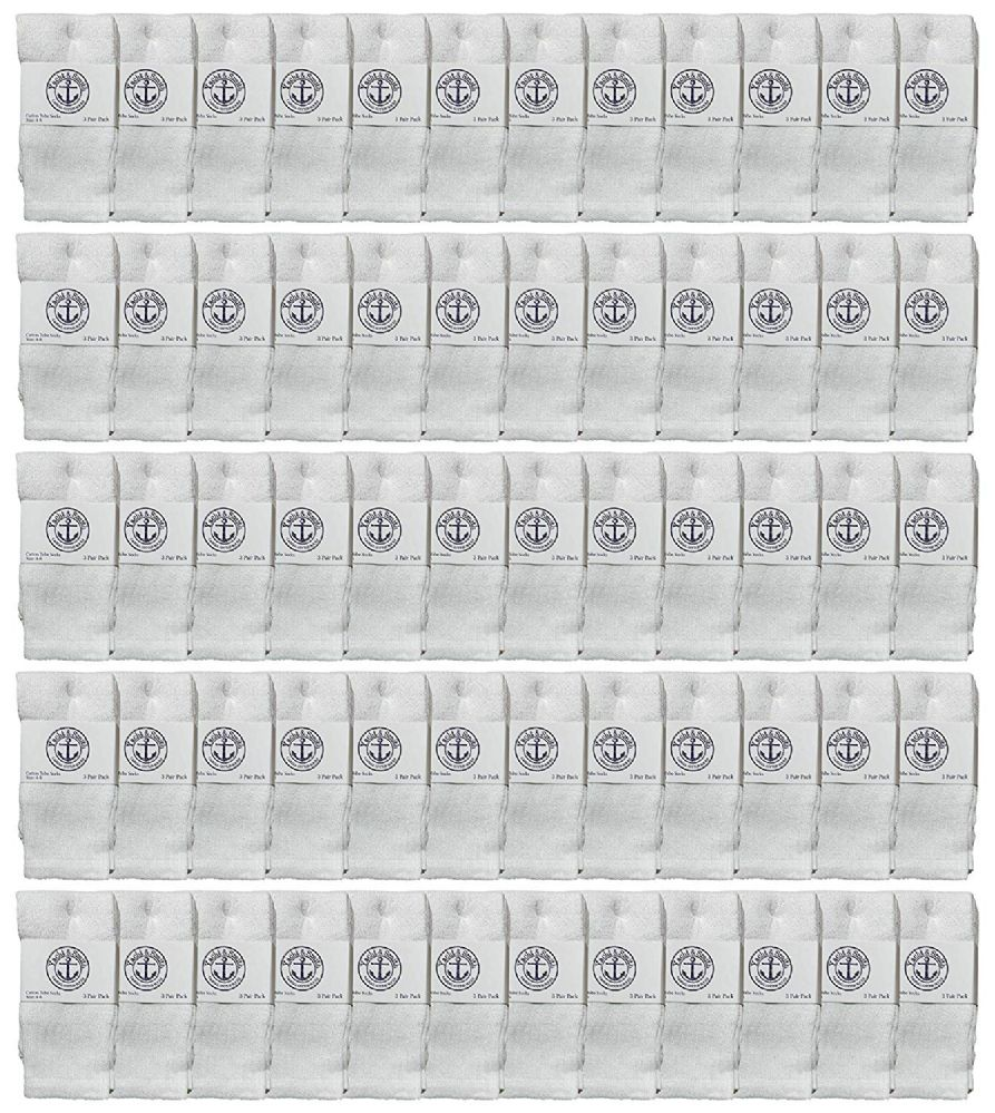 60 of Yacht & Smith Kids White Solid Tube Socks Size 4-6