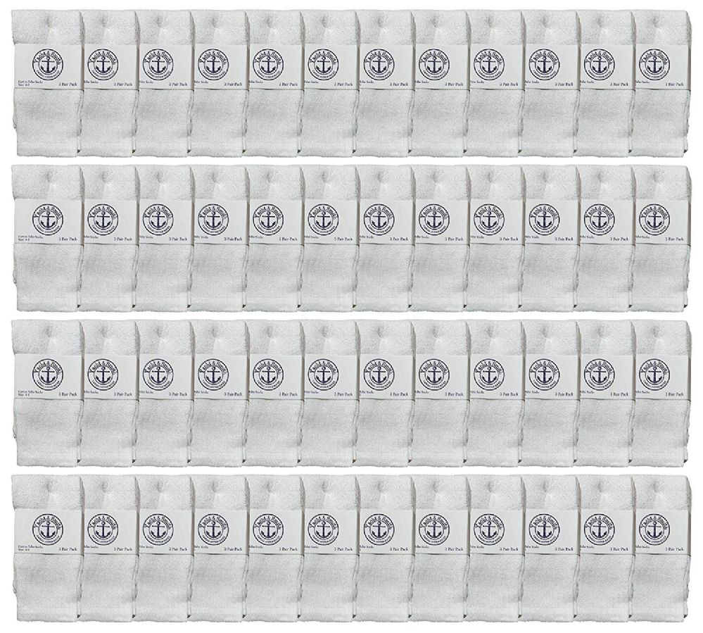 48 of Yacht & Smith Kids White Solid Tube Socks Size 4-6