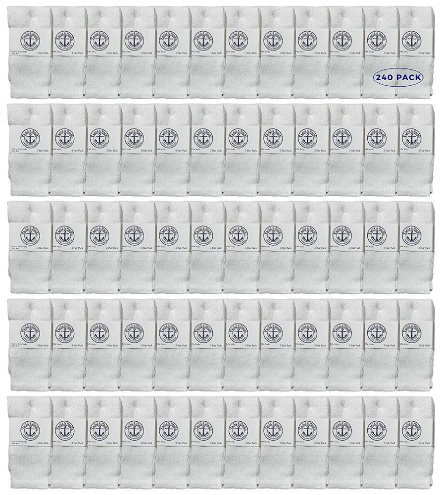 240 of Yacht & Smith Kids White Solid Tube Socks Size 4-6