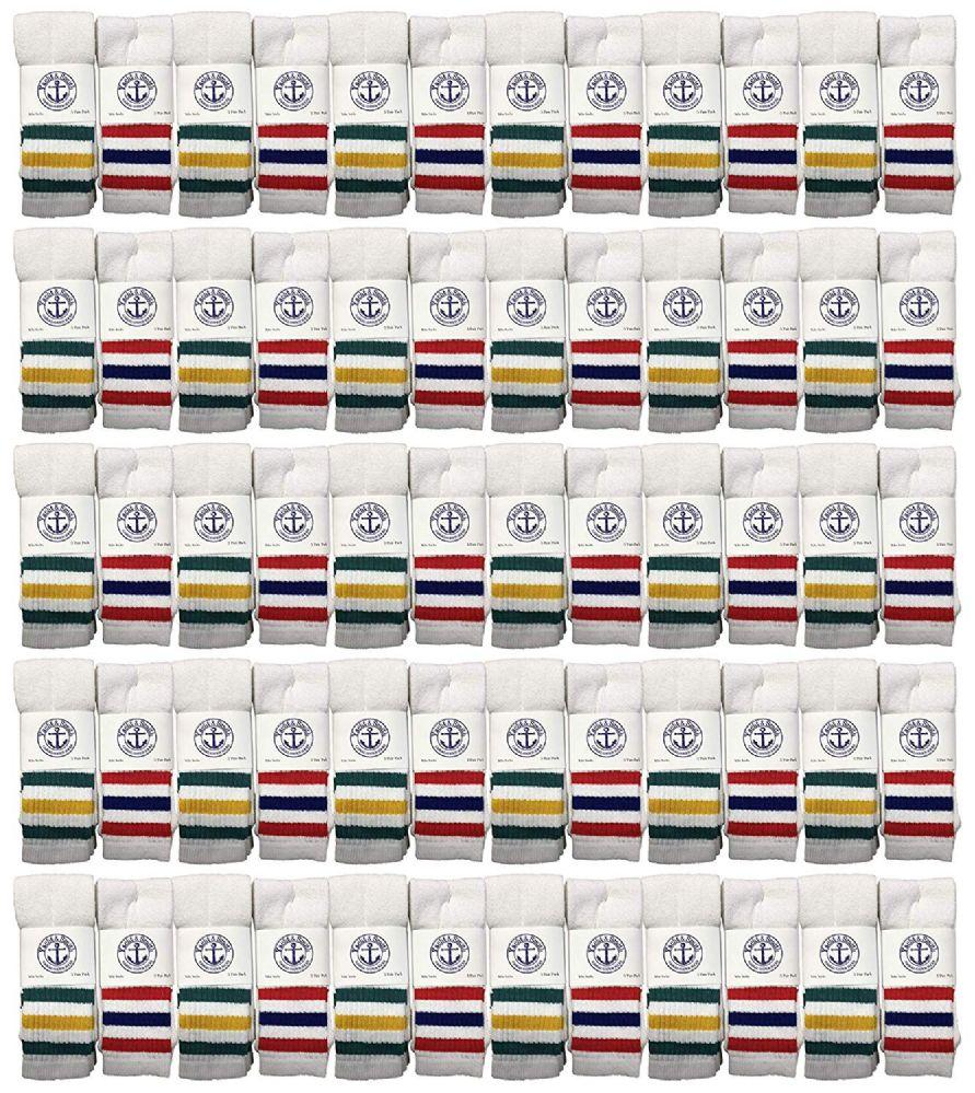 72 of Yacht & Smith Kids Cotton Tube Socks White With Stripes Size 4-6