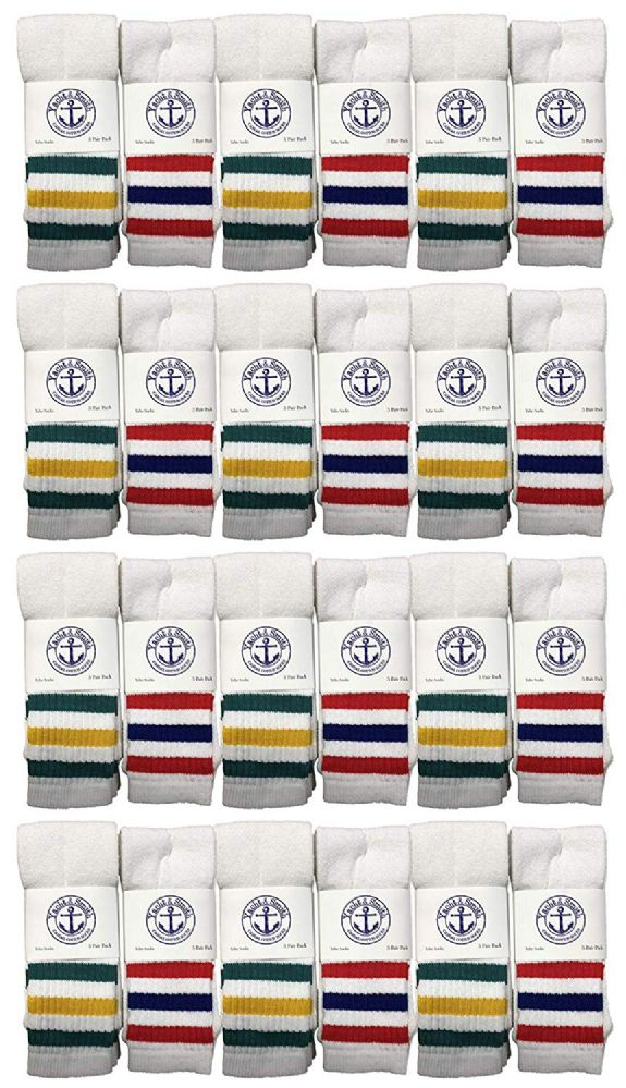 24 of Yacht & Smith Kids Cotton Tube Socks White With Stripes Size 4-6