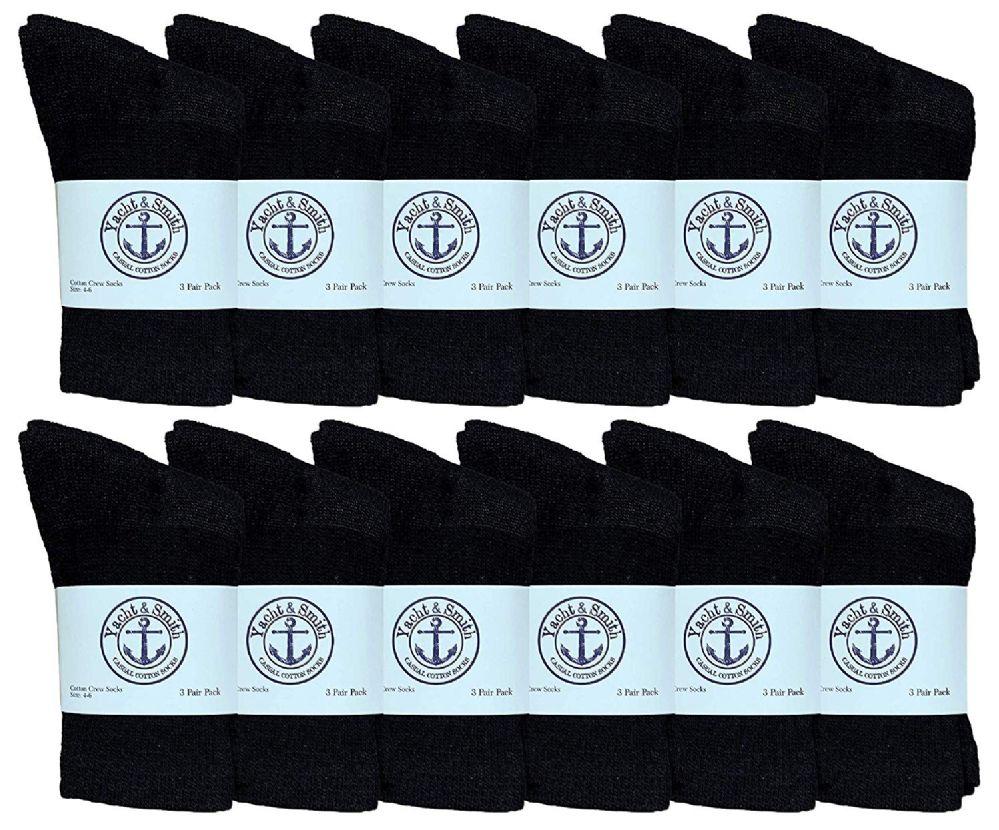 12 of Yacht & Smith Kids Cotton Crew Socks Black Size 4-6