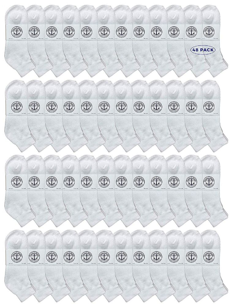 48 of Yacht & Smith Kids Cotton Quarter Ankle Socks In White Size 6-8
