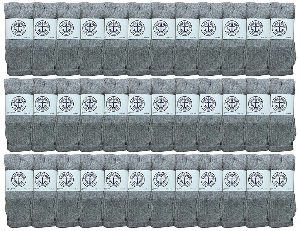 36 of Yacht & Smith Women's Cotton Tube Socks, Referee Style, Size 9-15 Solid Gray