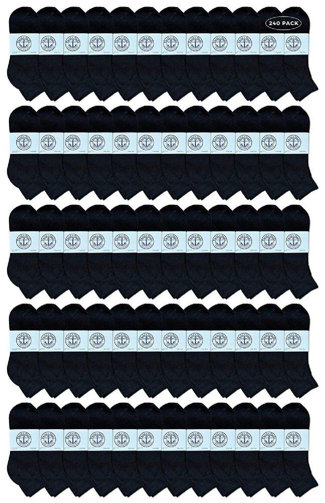 240 of Yacht & Smith Men's Cotton Quarter Ankle Sport Socks Size 10-13 Solid Black