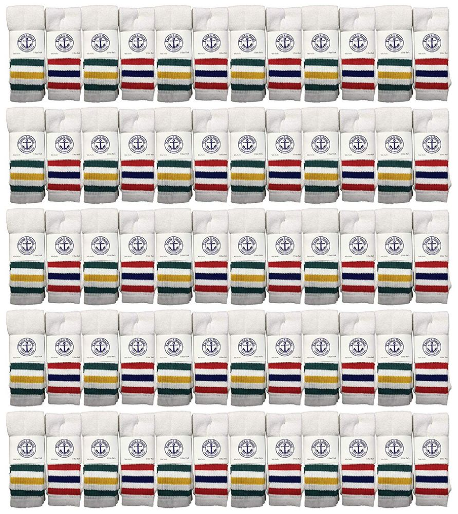 72 of Yacht & Smith Men's Cotton Tube Socks, Referee Style, Size 10-13 White With Stripes