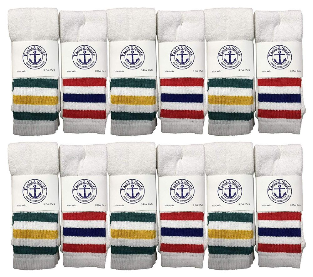 12 of Yacht & Smith Men's Cotton Terry Tube Socks, 30 Inch Referee Style, Size 10-13 White With Stripes