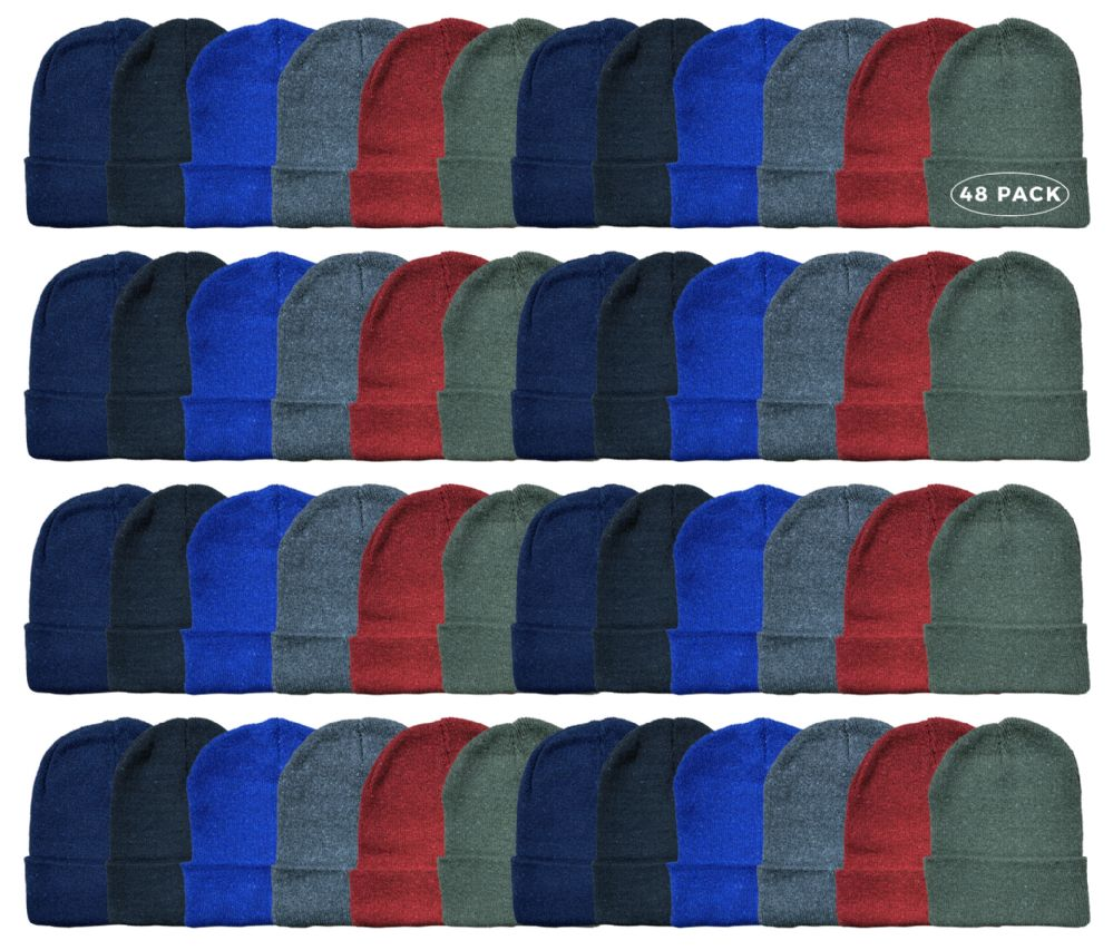 48 of Yacht & Smith Kids Winter Beanie Hat Assorted Colors