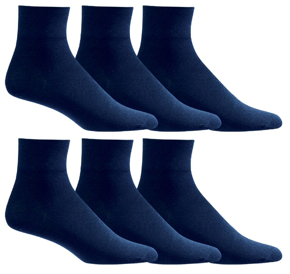 6 of Yacht & Smith Mens Diabetic Cotton Ankle Socks Soft NoN-Binding Comfort Socks Size 10-13 Navy