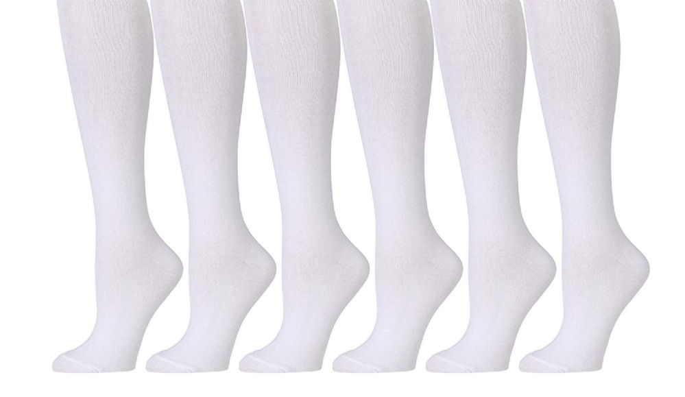 6 of Yacht & Smith 6 Pairs Of Girls Knee High Socks, Solid Colors (white, 4-6)