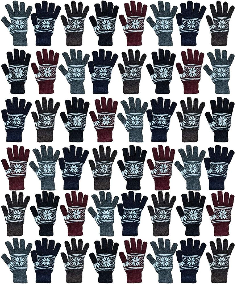 48 of Yacht & Smith Mens Snow Flake Thermal Winter Gloves