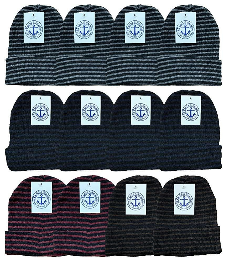 12 of Yacht & Smith Unisex Knit Winter Hat With Stripes Assorted Colors