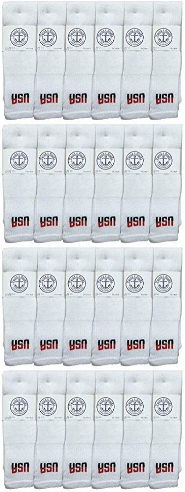 24 of Yacht & Smith King Size Men's 31 Inch Terry Cushion Cotton Extra Long USA Tube Socks- Size 13-16