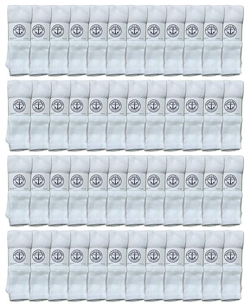 48 of Yacht & Smith Men's 32 Inch Cotton King Size Extra Long White Tube SockS- Size 13-16