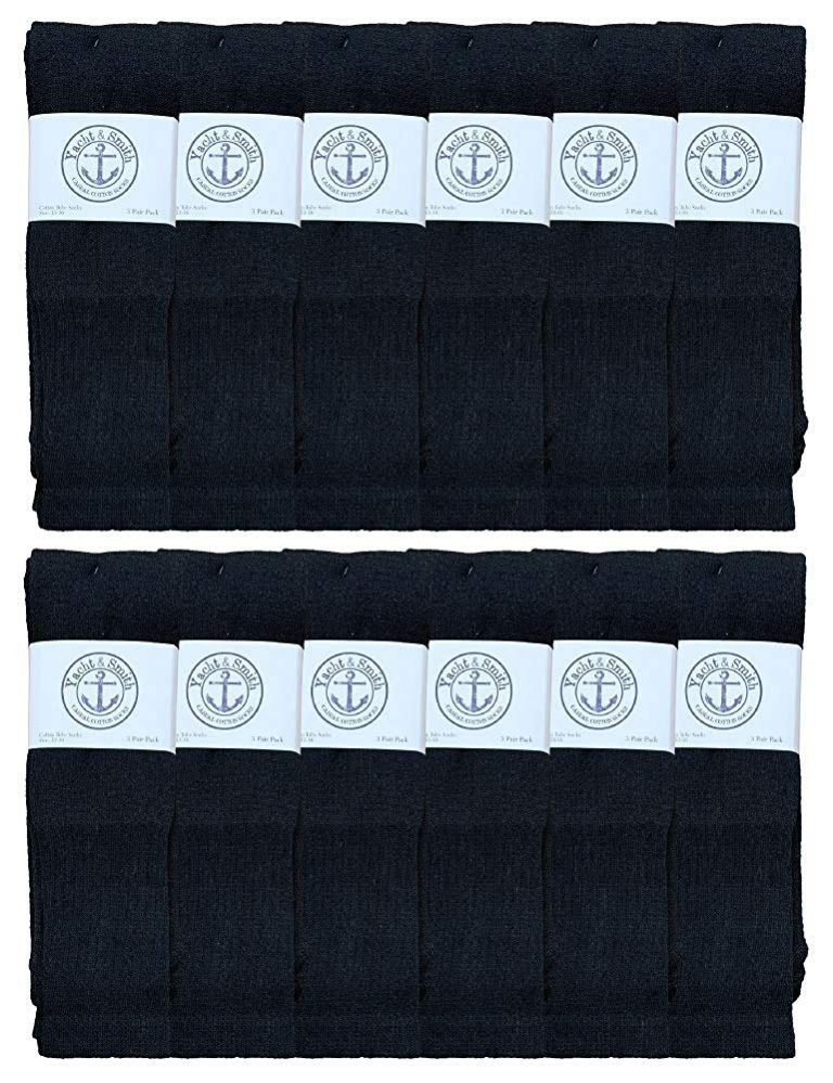 12 of Yacht & Smith Men's 32 Inch Cotton King Size Extra Long Black Tube SockS- Size 13-16