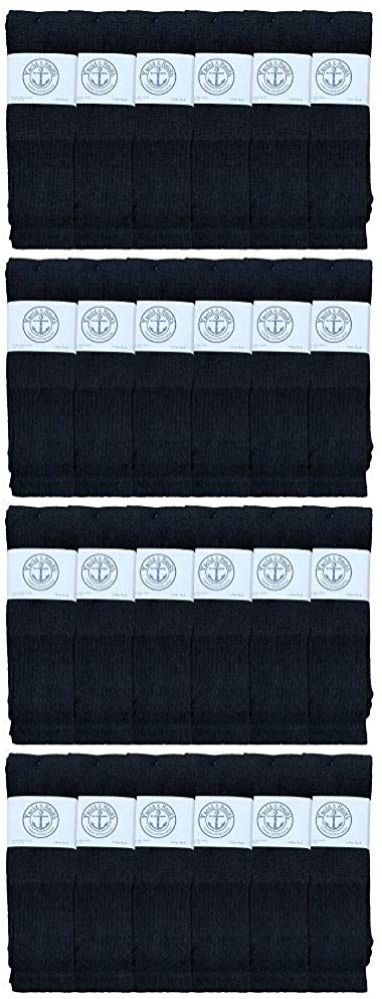 24 of Yacht & Smith King Size Men's 31 Inch Cotton Terry Cushioned Athletic Black Tube Socks- Size 13-16