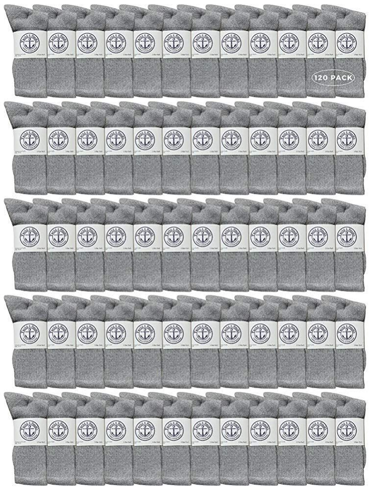 120 of Yacht & Smith Mens Wholesale Bulk Cotton Socks, Athletic Sport Socks Shoe Size 8-12 (gray, 120)