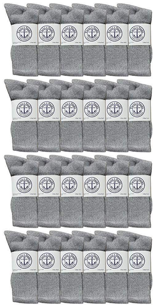 24 of Yacht & Smith Mens Wholesale Bulk Cotton Socks, Athletic Sport Socks Shoe Size 8-12 (gray, 24)