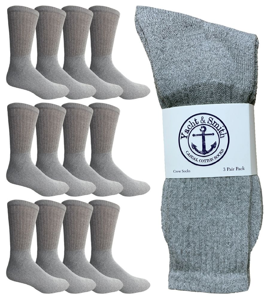 12 of Yacht & Smith King Size Men's Cotton Terry Cushion Crew Socks Size 13-16 Gray